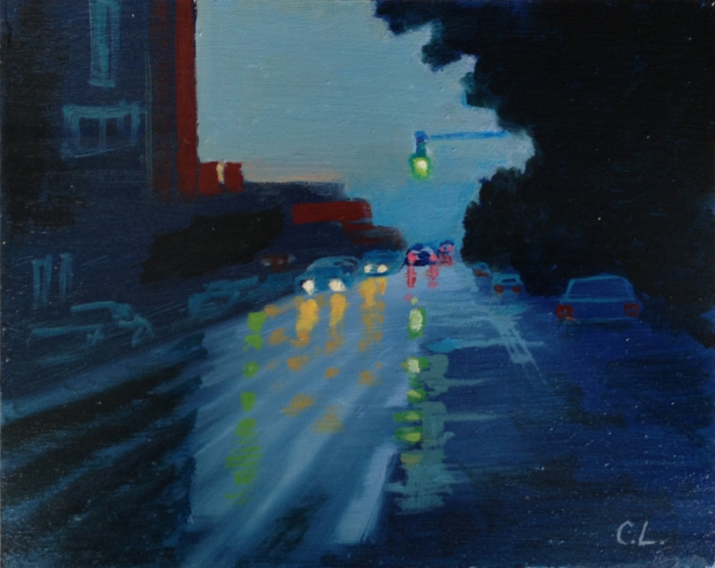 Street View at Sunset Oil on canvas